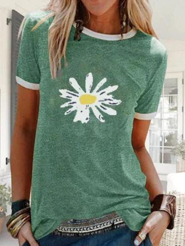 Summer Printed Short Sleeve Crew Neck Top T-shirts