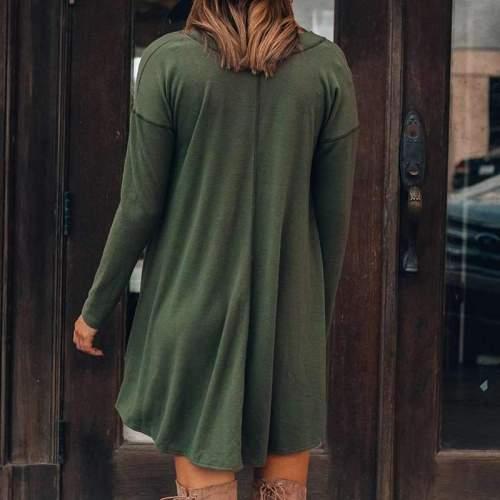 Casual Loose Pure V neck Long sleeve Shift Dresses