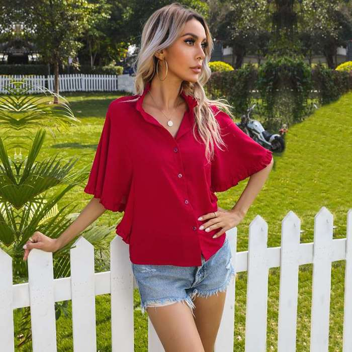 Casual Pure Stand collar Falbala Short sleeve Blouses