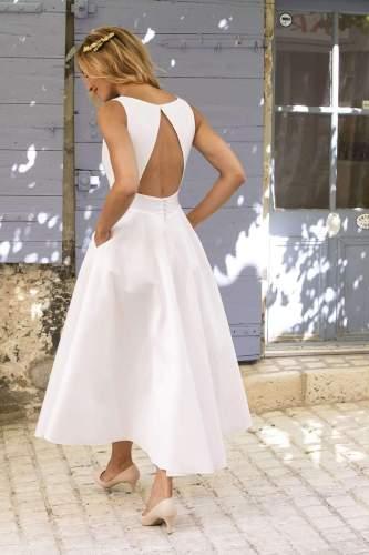 Pure V neck Sleeveless Backless Skater Dresses