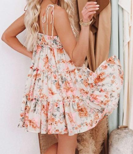 Casual Loose Floral print Gored Sleeveless Vest Shift Dresses