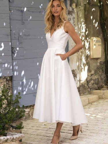 Pure V neck Sleeveless Backless Skater Dresses
