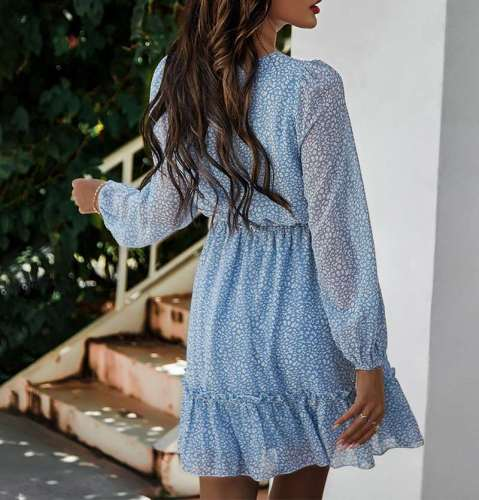 Casual Print Round neck Long sleeve Lacing Skater Dresses