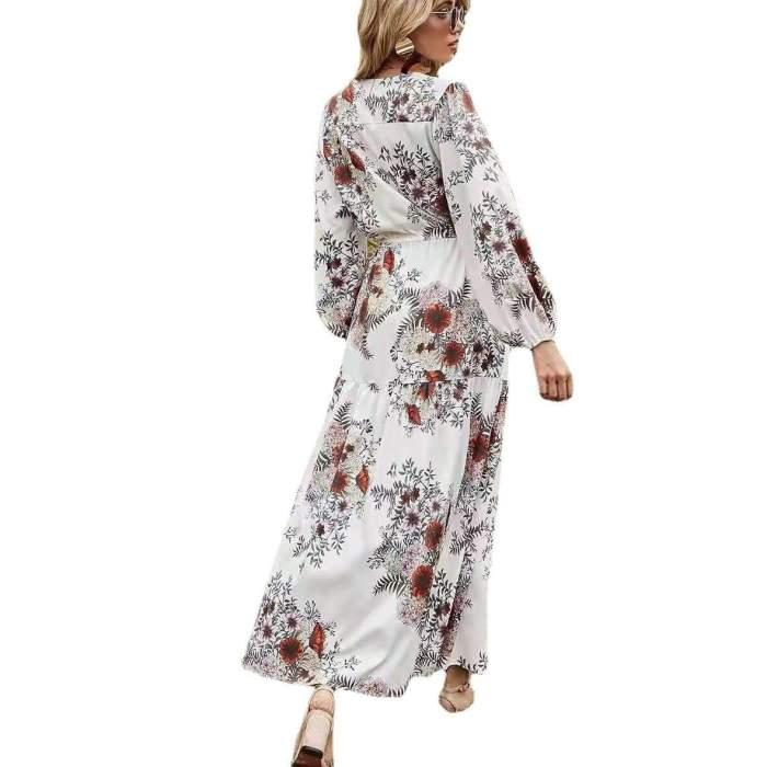 Fashion Casual Floral print V neck Long sleeve Lacing Skater Dresses
