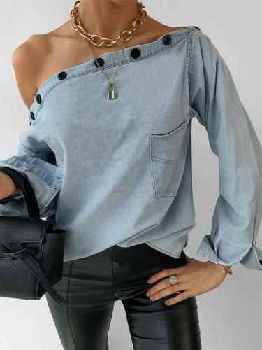 Casual Pure Fastener One shoulder Long sleeve Jean Blouses