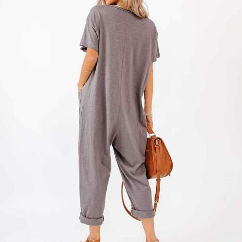 Casual Loose Pure V neck Short sleeve Fastener Jumpsuits