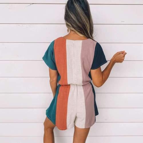 Casual Loose Stripe print V neck Short sleeve Lacing Jumpsuits