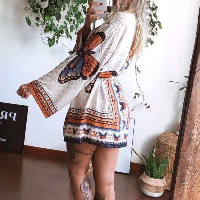 Casual Loose Floral print V neck Long sleeve Lacing Skater Dresses