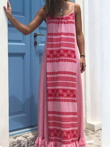 Casual Loose Round neck Sleeveless Vest Maxi Dresses
