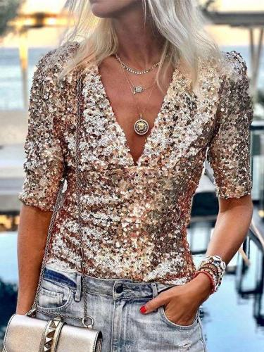Fashion Sequin V neck Half sleeve T-Shirts