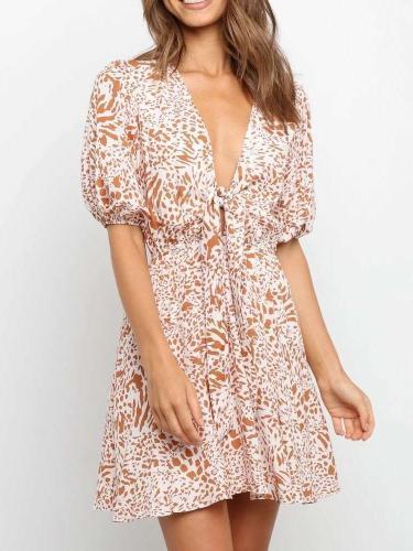 Fashion Sexy Leopard print V neck Short sleeve Lacing Skater Dresses