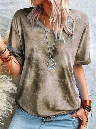 Fashion Tie-dyed V neck Short sleeve T-Shirts