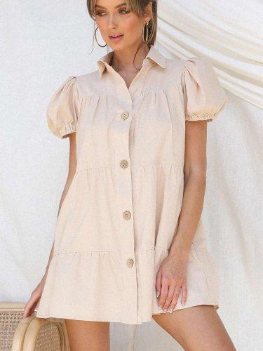 Casual Pure Lapel Short sleeve Shirt Shift Dresses
