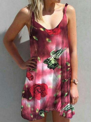 Casual Floral print Round neck Vest Shift Dresses