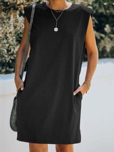 Casual Pure Round neck Sleeveless Pocket Shift Dresses