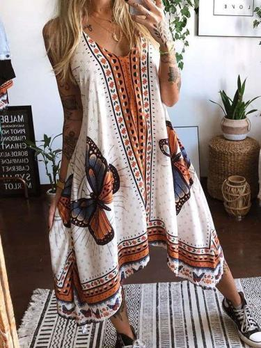 Casual Loose Butterfly print V neck Sleeveless Maxi Dresses