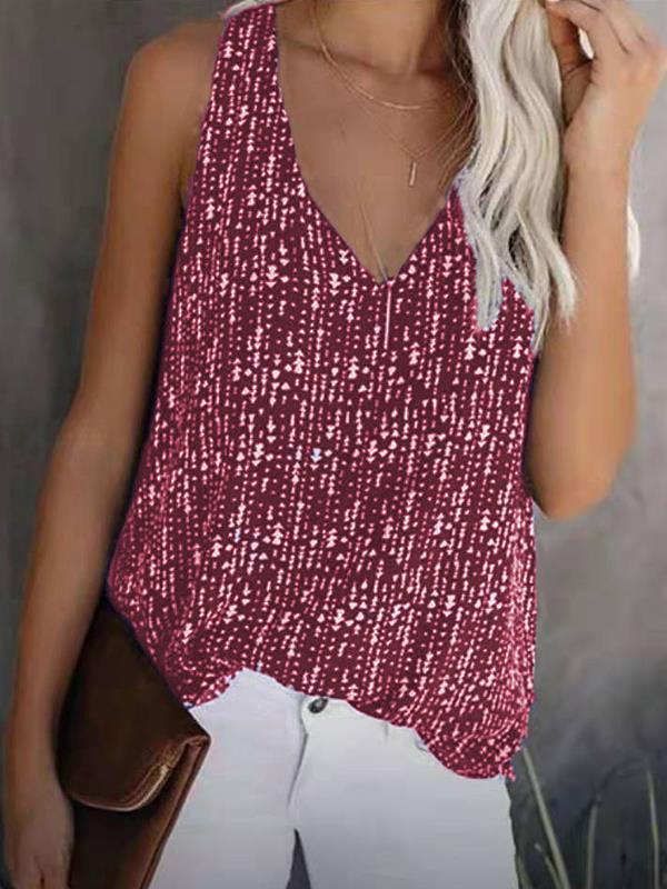Fashion printed Bling Bling loose V-neck sleeveless women vest