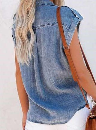 Casual Pure Lapel Short sleeve Jean Blouses