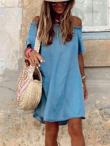 Casual Pure One shoulder One shoulder Short sleeve Jean Shift Dresses