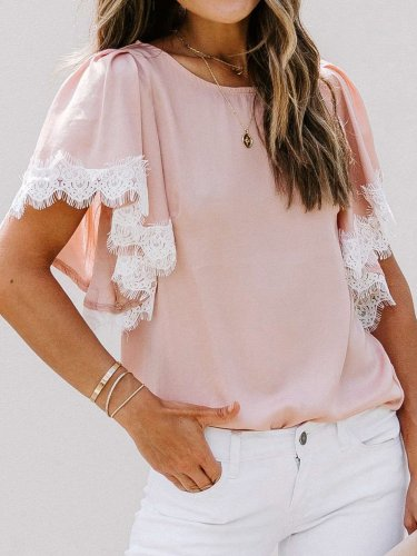 Casual Lace Gored Round neck Short sleeve T-Shirts