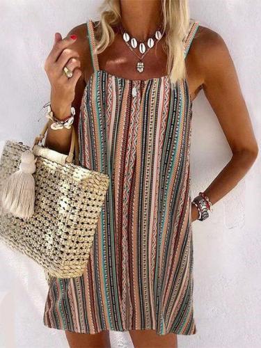 Casual Stripe Vest Sleeveless Shift Dresses
