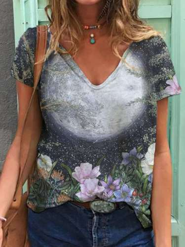 Casual Floral print V neck Short sleeve T-Shirts