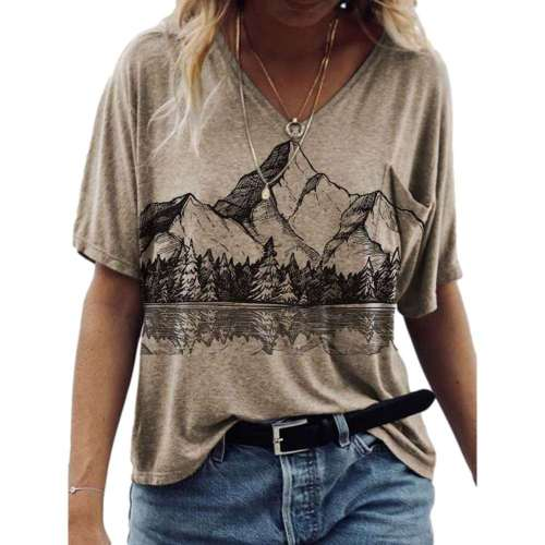 Women Casual Loose Mountains print V neck Short sleeve T-Shirts