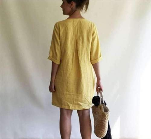 Casual Loose Pure V neck Half sleeve Shift Dresses