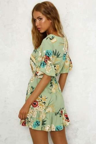 Fashion Floral print Round neck Short sleeve Falbala Skater Dresses