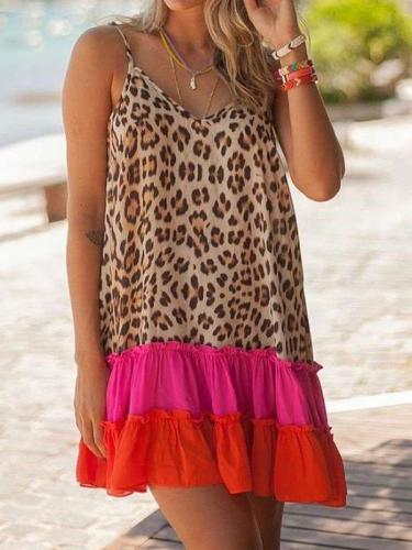 Casual Loose Leopard print V neck Sleeveless Gored Falbala Shift Dresses