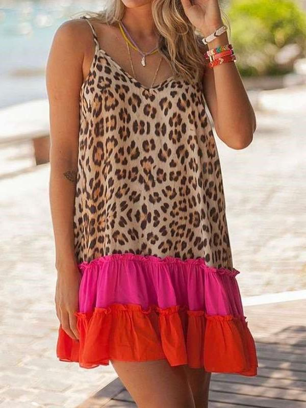 Casual Loose Leopard print V neck Sleeveless Gored Falbala Shift Dresses