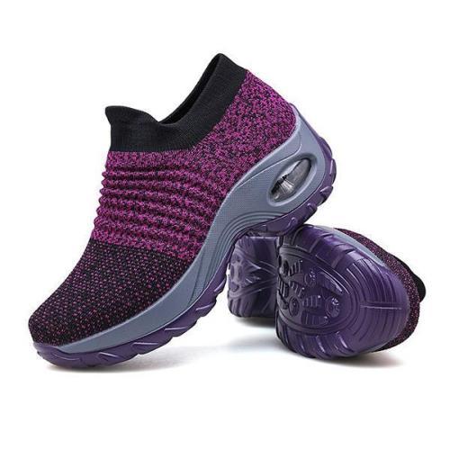 Women's Walking Shoes Sock Sneakers Mesh Slip On Air Cushion Lady Girls Platform Loafers