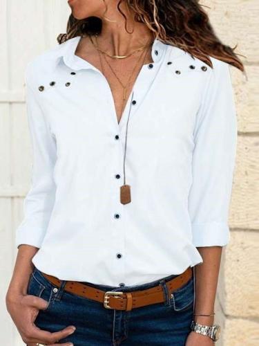 Fashion Pure Lapel Long sleeve Fastener Blouses