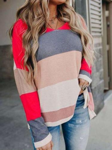 Fashion Stripe Gored Knit Round neck Long sleeve T-Shirts