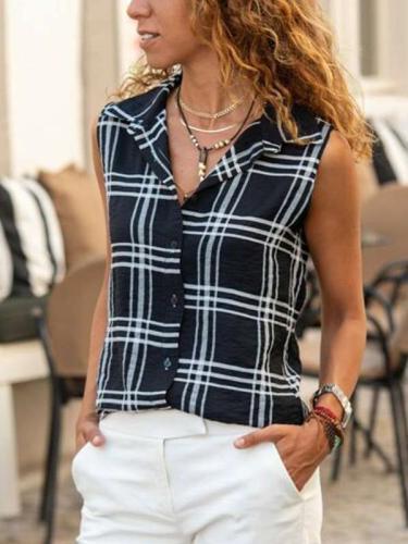Fashion Plaid Lapel Sleeveless Blouses