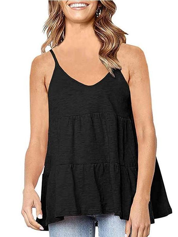Casual Loose Pure Round neck Gored Vests