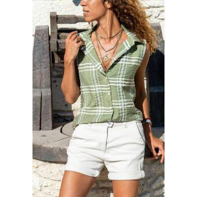 Fashion Plaid Lapel Sleeveless Blouses