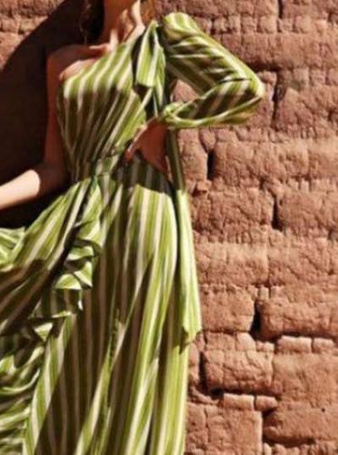 Fashion Stripe Oblique shoulder Long sleeve Falbala Skater Maxi Dresses
