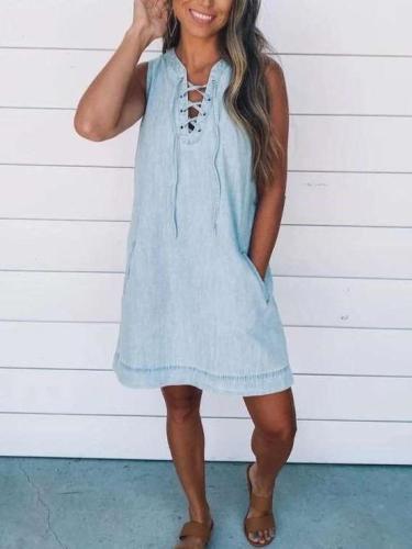 Pure Casual V necl Lacing Sleeveless Pocket Jean Shift Dresses