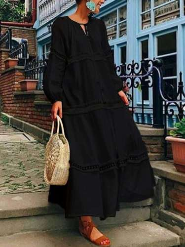 Fashion Pure V neck Hollow out Gored Long sleeve Maxi Dresses