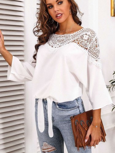 Casual Lace Hollow out Round neck Three quarter sleeve T-Shirts