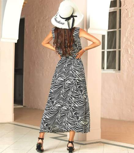 Fashion Stripe print Stand collar Sleeveless Lacing Maxi Dresses