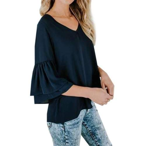 Casual Loose Pure V neck Half sleeve T-Shirts