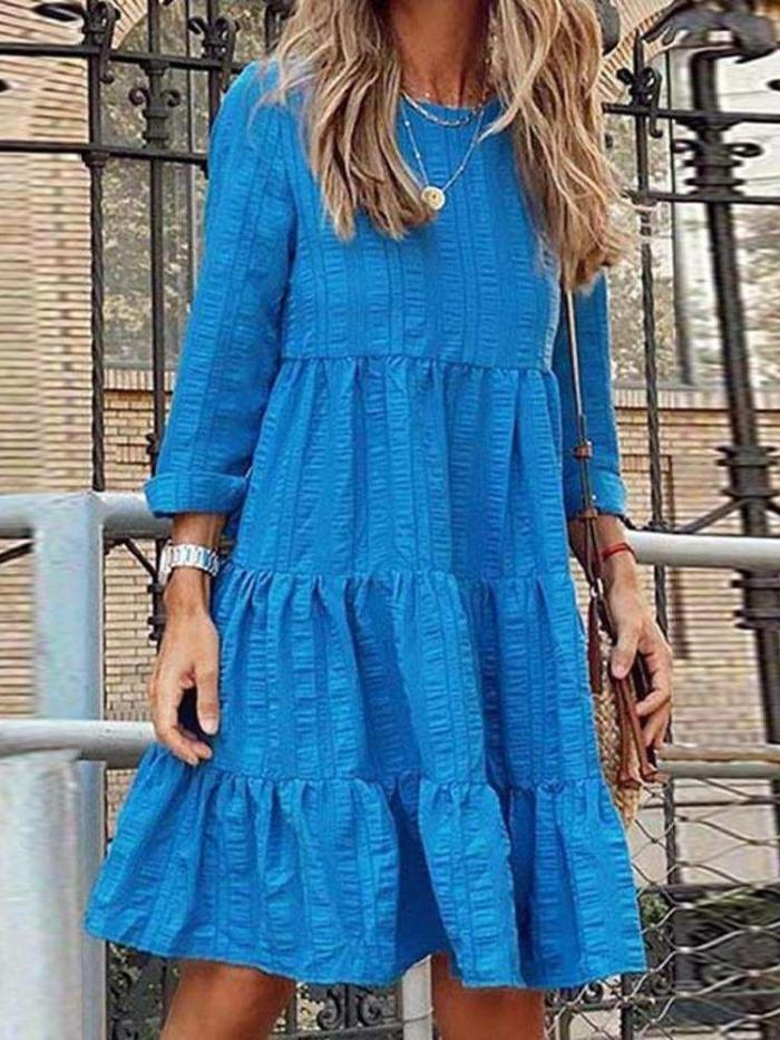 Casual Pure Gored Round neck Long sleeve Shift Dresses