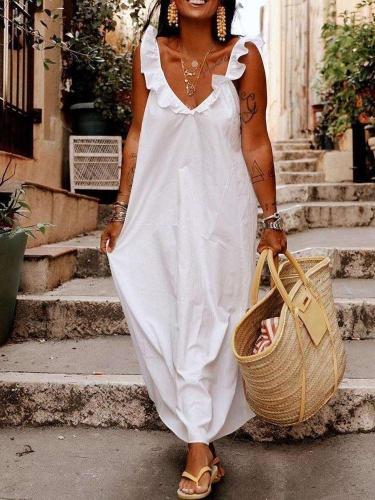 Pure Ruffled collar Sleeveless Maxi Dresses
