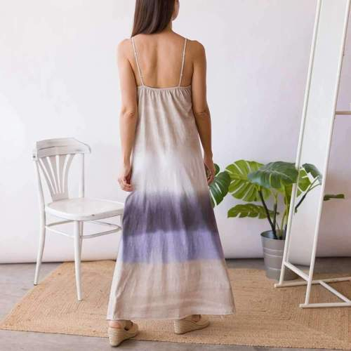 Casual Loose V neck Sleeveless Gradient Maxi Dresses
