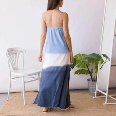 Casual Loose V neck Sleeveless Gradient Maxi Dresses