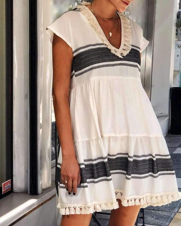 Casual Loose Stripe Gored V neck Short sleeve Macrame Shift Dresses