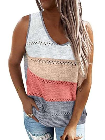 Casual Stripe Hollow out Round neck Knit Vests