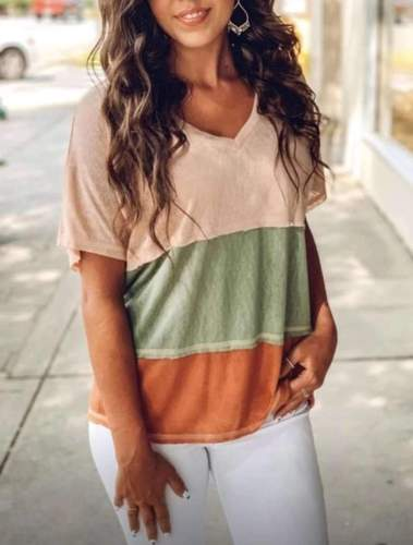 Casual Loose Stripe Gored V neck Short sleeve T-Shirts